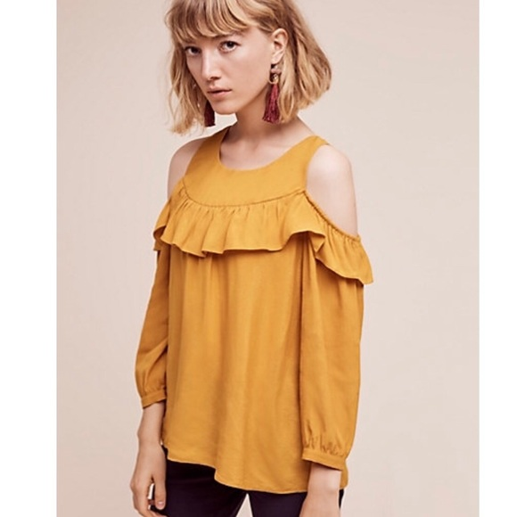 77a514982aa Anthropologie Tops - Anthropologie Maeve mustard ruffle cold shoulder